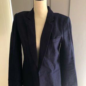 Navy blue linen cotton classic JOIE jacket sz 6